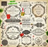 Collezione di decorazione natalizia. set di elementi calligrafici e tipografici, cornici, etichette d'epoca. nastri, adesivi, santa e angelo. mano disegnata natale palline, pelliccia di rami di albero e regali. — Vettoriale Stock