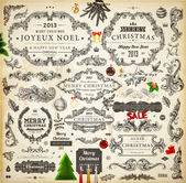Christmas decoration collection. Set of calligraphic and typographic elements, frames, vintage labels. Ribbons, stickers, Santa and angel. Hand drawn christmas balls, fur tree branches and gifts. — Wektor stockowy