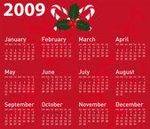 Calendario vettoriale per la progettazione di natale. — Vettoriale Stock