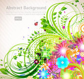 Abstract vector floral summer background with flowers, sun, ladybird, cherry — Stock Vector