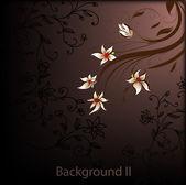 Handgezeichnete floral hintergrund mit blumen, vektor-grusskarte für retro sommer design. — Stockvektor