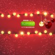 Red background with frame, christmas balls and lamp festive garland for holiday xmas design. — Векторная иллюстрация