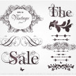 Vector set: calligraphic design elements and page decoration — Stok Vektör