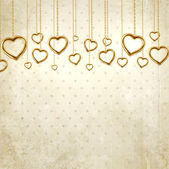 Golden hearts for wedding or Valentines day design — Stock Vector