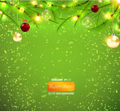 Merry Christmas and Happy New Year vector with ball, fur tree branch and stars. — Stock vektor
