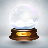 Empty snowglobe against a bright defocused background with glittering lights and snowflakes for Christmas design. Customize by inserting your own object. EPS10 vector. — Stock Vector