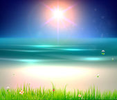 Abstract background for design. Beach with grass, flower, water drops and ladybird. Free place for text — 图库矢量图片