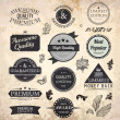 Collection of Premium Quality and Guarantee Labels with retro vintage styled design and old paper grunge texture — Imagens vectoriais em stock