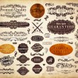 Vector set: vintage labels with flowers, old paper texture — Imagen vectorial
