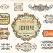 Vector set: vintage labels with flowers, old paper texture — Векторная иллюстрация