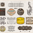 Vector set: vintage labels with flowers, old paper texture — Stok Vektör