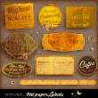 Vector set: vintage labels with flowers, old paper texture — Vector de stock