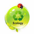 Ecology illustration with ladybird. - Stock Vector
