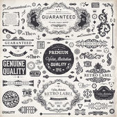 Vector set: calligraphic design elements and page decoration, Premium Quality, Seafarers and Satisfaction Guarantee Label collection with black grungy design and flowers — Stok Vektör