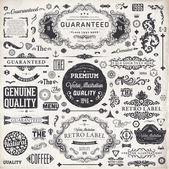 Vector set: kalligrafische designelementen en pagina decoratie, premium kwaliteit, zeevarenden en tevredenheidsgarantie label collectie met zwarte grungy ontwerp en bloemen — Stockvector