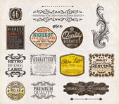 Vector set: vintage labels with flowers, old paper texture — Stock Vector