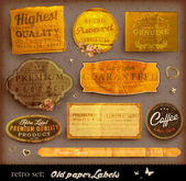 Vector set: vintage labels with flowers, old paper texture — Wektor stockowy