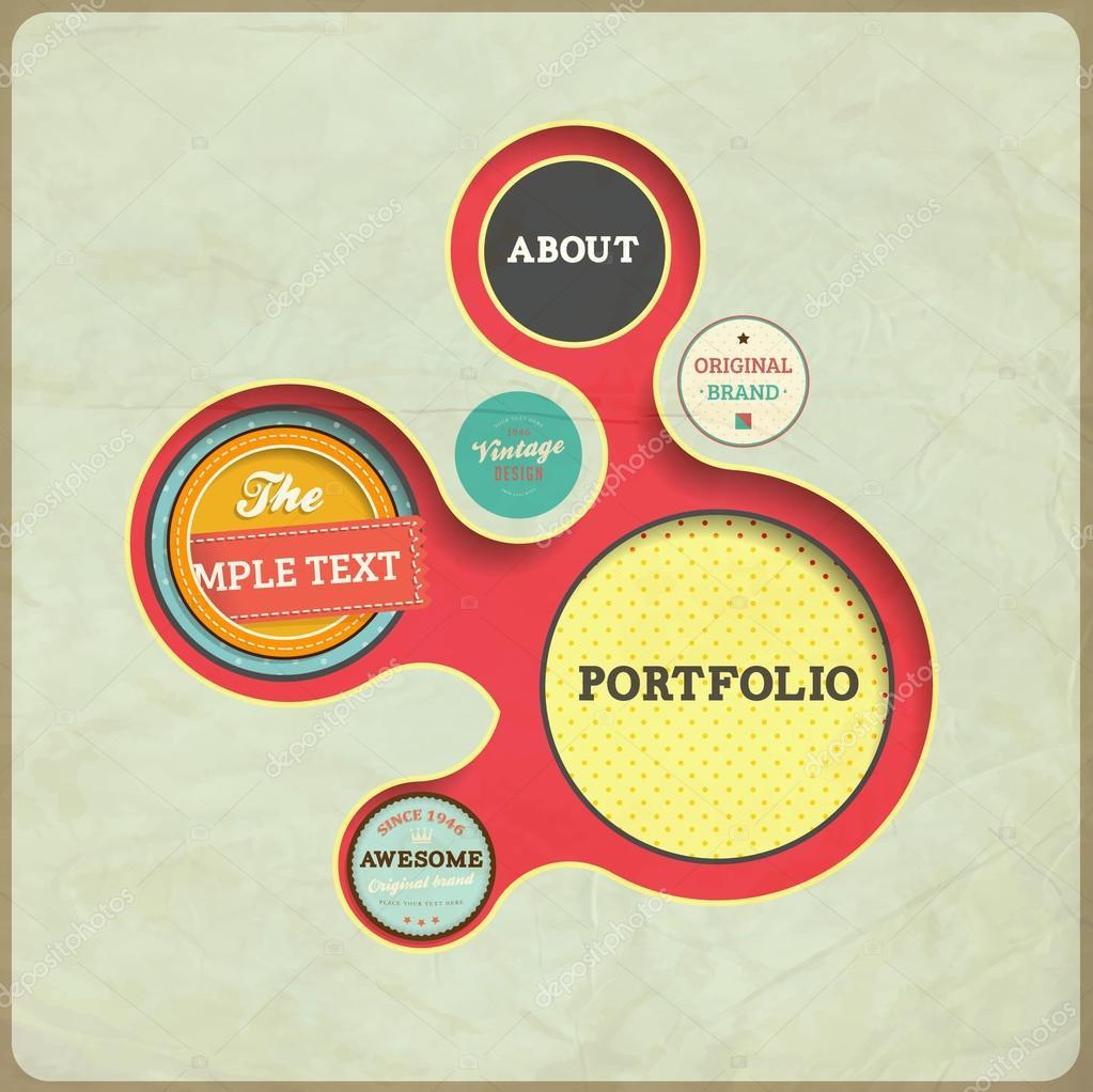 Vintage Web design template  Eps 10 vector Illustration  Old paper. Retro Design Style Retro Style in Web Design Share on vintage