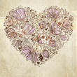 Love. Flower heart for wedding or Valentines day design. — 图库矢量图片