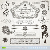 Vector set: calligraphic and christmas design elements and page decoration - lots of useful elements to embellish your layout, sketch font — Stock Vector