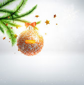 Merry Christmas and Happy New Year vector with ball, fur tree branch and stars. — Stockvector