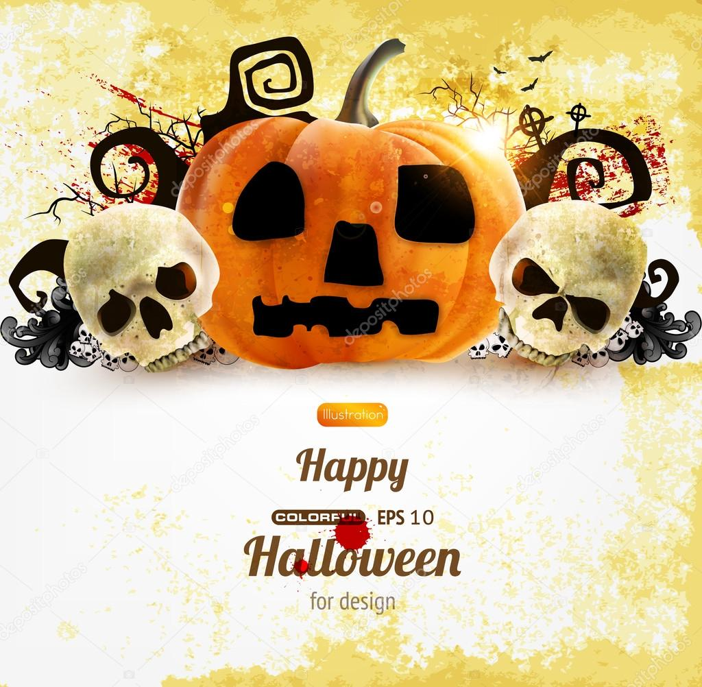 Spooky Halloween composition  Stockvectorbeeld #17646111