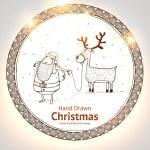 Vector illustration of santa with deer — Stock Vector #17653937