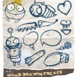 Set of hand drawn freaks with speech bubbles — Stock Vector