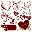 Love valentine day vector set for design — Stock Vector
