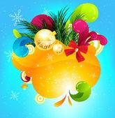 God jul och gott nytt år vektor med bollen, päls trädgren och stjärnor — Stockvektor
