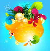 Merry Christmas and Happy New Year vector with ball, fur tree branch and stars. — Vector de stock