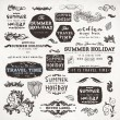 Calligraphic elements and page decoration, Summer Holiday and Travel Time Label collection with black grungy design for old style design. Eps10 vector set. — Imagens vectoriais em stock