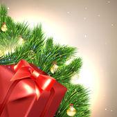 Buon natale e felice anno nuovo vettore con palla, ramo di albero di pelliccia e stelle — Vettoriale Stock