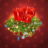 Frohe weihnachten und ein glückliches neues jahr vektor mit ball, pelz-ast und sternen — Stockvektor