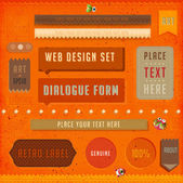 Set of vector retro ribbons, old dirty paper textures and vintage labels. Elements for web design templates. Letterpress effect. — Stock Vector