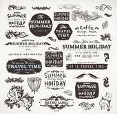 Kalligrafische elementen en pagina decoratie, zomervakantie en reizen tijd label collectie met zwarte grungy ontwerp voor oude stijl ontwerp. eps10 vector set. — Stockvector
