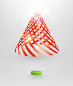 Christmas tree from red ribbon vector background. — Stock Vector