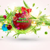 Merry Christmas and Happy New Year vector with ball, fur tree branch and stars. — Cтоковый вектор