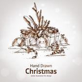 Christmas hand drawn fur tree for xmas design. With balls, toys and fir-cone. — Stock Vector