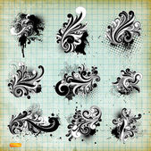 Vector set: swirls - variety of handdrawn floral design elements — Stock Vector