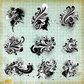 Vector set: swirls - variety of handdrawn floral design elements — Stock Vector