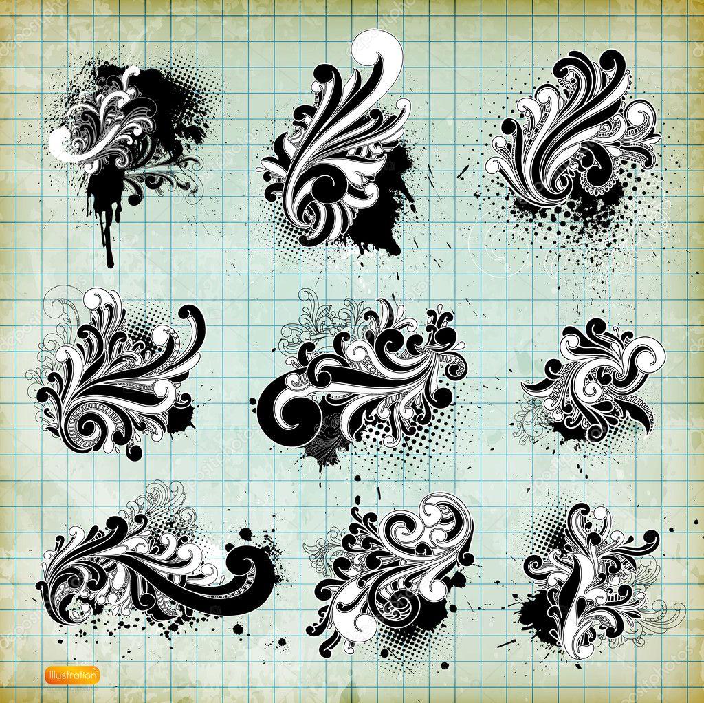 Elements Of Design Variety : Vector set swirls variety of handdrawn floral design