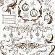 Christmas decoration set - lots of calligraphic elements, bits and pieces to embellish your holiday layouts — Stock Vector