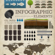 Stock Vector: Set of infographics elements. Old paper texture . Vintage style design. Oil icons