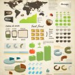 Set elements of infographics . World Map and Information Graphics. Apple and coconut. Phones and labels. Fast food — Stock Vector