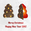 Christmas tree with place for invitation text - Imagen vectorial
