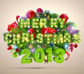Feliz navidad y feliz año nuevo vector con la bola, piel de estrellas y la rama de un árbol — Vector de stock