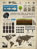 Set of infographics elements. Old paper texture . Vintage style design. Oil icons — Stock Vector
