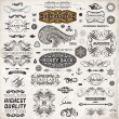 Calligraphic design elements, page decoration, retro labels and frames set for vintage design Old paper grunge texture — Stock Vector #18011067