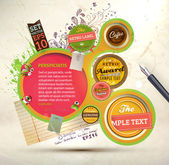 Vintage Web design template with labels, paper elements, stickers and paint drops. Eps 10 vector Illustration. Old paper texture, retro style. — Vettoriale Stock